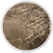 Aerial Of Lovers Point And Pacific Grove California July 10 1906 Round Beach Towel
