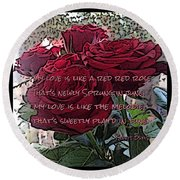 Lover's Roses Round Beach Towel