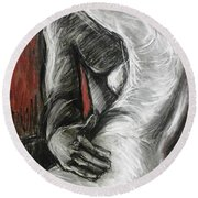 Lovers - The Kiss1-rodin Round Beach Towel