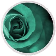 Love's Eternal Teal Green Rose Round Beach Towel