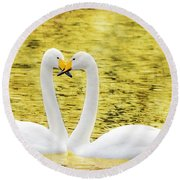 Loving Swans Round Beach Towel by Tommytechno Sweden