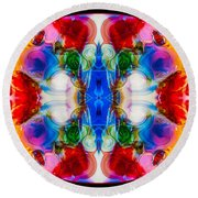 Loving Wisdom Abstract Living Artwork Round Beach Towel