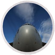 Low Angle View Of A C-17 Globemaster Round Beach Towel