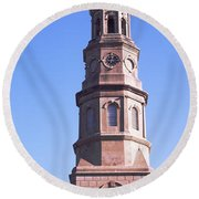 Low Angle View Of A Church, St. Philips Round Beach Towel
