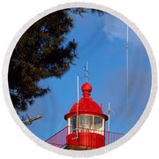 Low Angle View Of A Lighthouse, Morgat Round Beach Towel