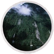 Low Angle View Of A Mountain, Milford Round Beach Towel
