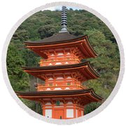 Low Angle View Of A Small Pagoda Round Beach Towel