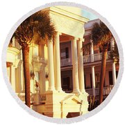 Low Angle View Of Historic Houses Round Beach Towel