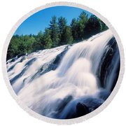 Low Angle View Of The Bond Falls Round Beach Towel