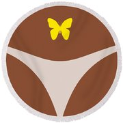 Low Back Tattoo - Butterfly Round Beach Towel