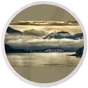 Low Clouds - Half Speed Round Beach Towel by Jon Berghoff
