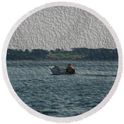 Low In The Water Round Beach Towel