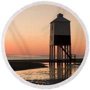 Low Lighthouse Sunset Round Beach Towel