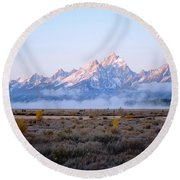 Low Sunrise Clouds Round Beach Towel
