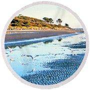 Low Tide At Jekyll Island Round Beach Towel