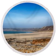 Low Tide At Sennen Cove Round Beach Towel