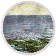 Low Tide At Sunrise Round Beach Towel