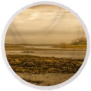 Low Tide Cape Porpoise Maine Round Beach Towel