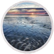 Low Tide East Beach Round Beach Towel