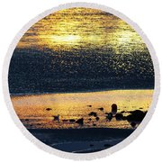 Low Tide Gold Round Beach Towel