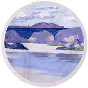 Low Tide  Iona Round Beach Towel by Francis Campbell Boileau Cadell
