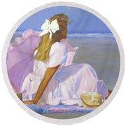 Low Tide Lady Round Beach Towel