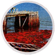 Low Tide - Red Seaweed - Fishing - Moratorium Round Beach Towel