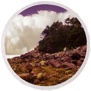 Low Tide Shoreline Closeup With Clouds Round Beach Towel
