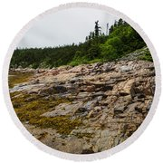 Low Tide - Walking On The Bottom Of Saint Lawrence River Round Beach Towel