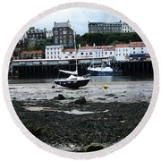 Low Tide Whitby Round Beach Towel
