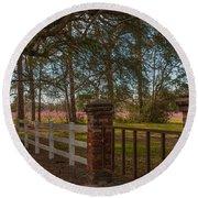 Lowcountry Gates To Boone Hall Plantation Round Beach Towel