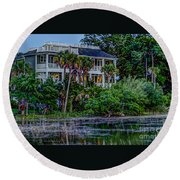 Lowcountry Home On The Wando River Round Beach Towel