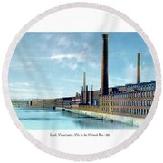 Lowell Massachusetts - Mills On The Merrimack River - 1910 Round Beach Towel
