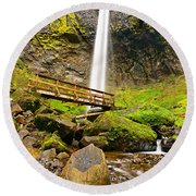 Lower Angle Of Elowah Falls In The Columbia River Gorge Of Oregon Round Beach Towel