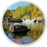 Lower Falls And Stream Round Beach Towel