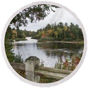 Lower Falls In Fall Round Beach Towel