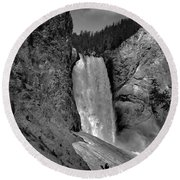 Lower Falls In Yellowstone In Black And White Round Beach Towel
