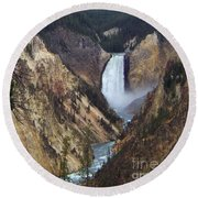 Lower Falls Of The Yellowstone River Round Beach Towel