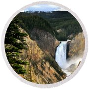 Lower Falls On The Yellowstone River Round Beach Towel