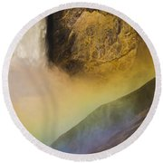 Lower Falls Rainbow - Yellowstone Round Beach Towel