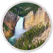 Lower Falls Yellowstone 2 Round Beach Towel