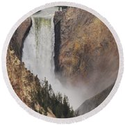 Lower Falls - Yellowstone Round Beach Towel