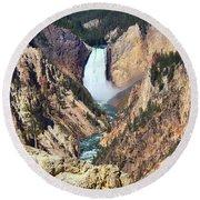Lower Falls Yellowstone Round Beach Towel