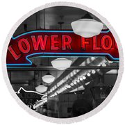 Lower Floor Selective Black And White Round Beach Towel