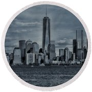 Lower Manhattan And The Freedom Tower Round Beach Towel