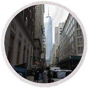 Lower Manhattan And The New World Trade Center Round Beach Towel