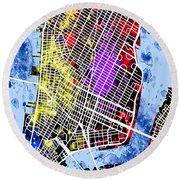 Lower Manhattan Map Round Beach Towel