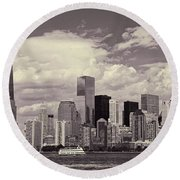 Lower Manhattan Skyline 2 Round Beach Towel
