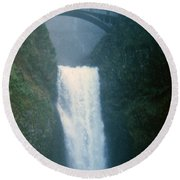 Lower Multnomah Falls Through The Mist Round Beach Towel