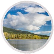 Lower Saint Mary Lake 1 Round Beach Towel